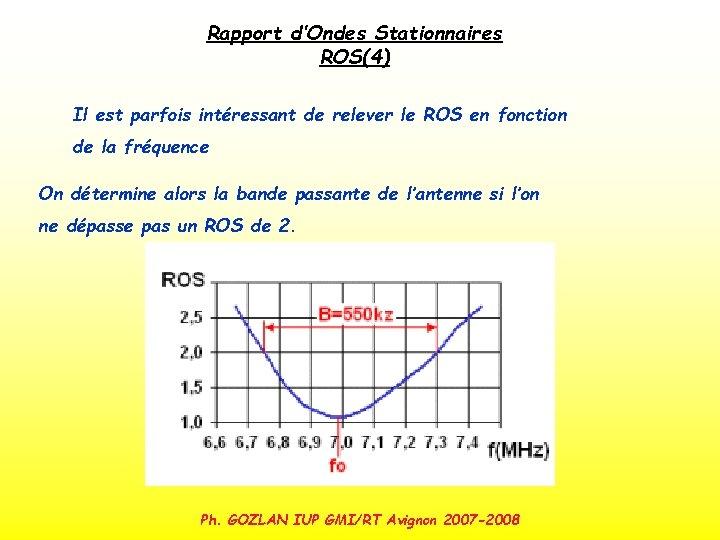 Rapport d'Ondes Stationnaires ROS(4) Il est parfois intéressant de relever le ROS en fonction
