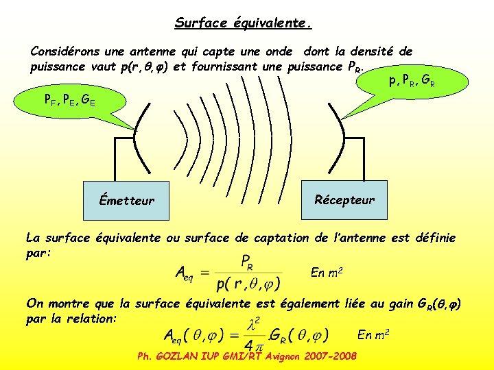 Surface équivalente. Considérons une antenne qui capte une onde dont la densité de puissance