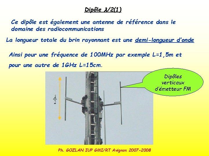 Dipôle l/2(1) Ce dipôle est également une antenne de référence dans le domaine des