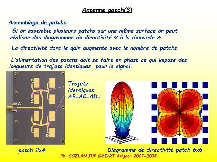 Antenne patch(3) Assemblage de patchs Si on assemble plusieurs patchs sur une même surface