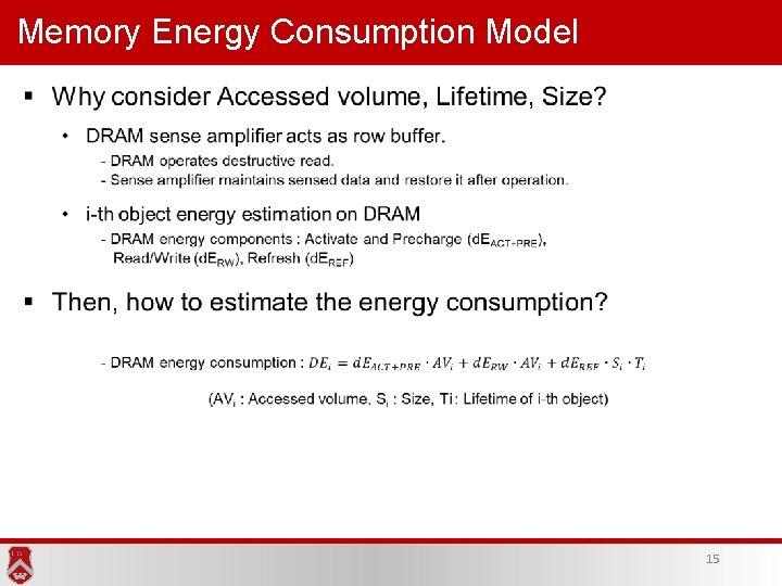 Memory Energy Consumption Model 15
