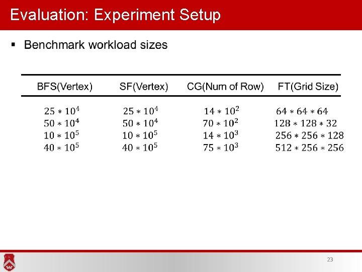 Evaluation: Experiment Setup 23