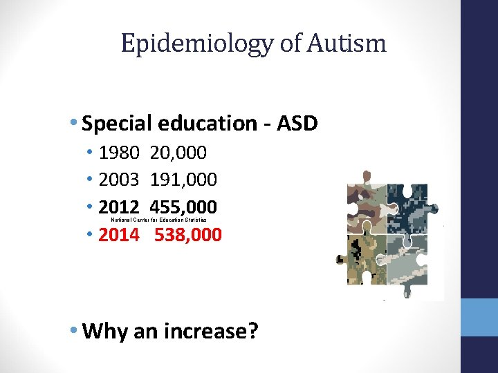 Epidemiology of Autism • Special education - ASD • 1980 • 2003 • 2012