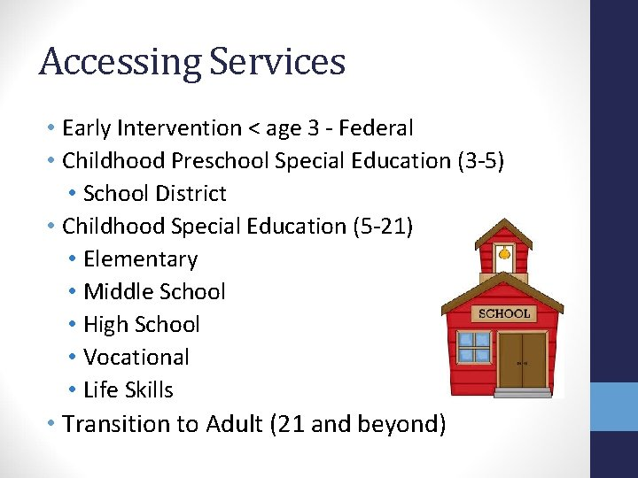 Accessing Services • Early Intervention < age 3 - Federal • Childhood Preschool Special