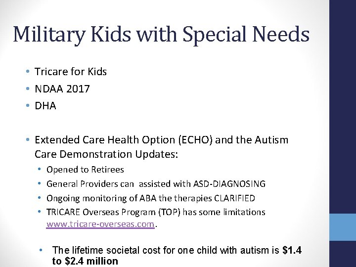 Military Kids with Special Needs • Tricare for Kids • NDAA 2017 • DHA