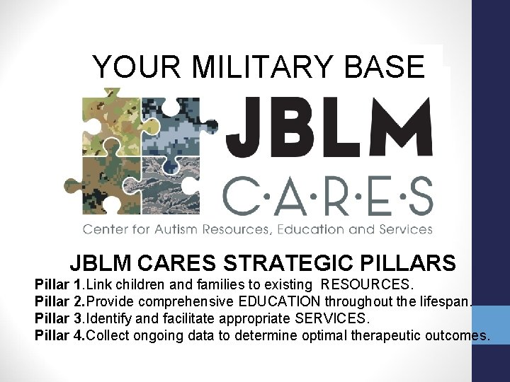 YOUR MILITARY BASE JBLM CARES STRATEGIC PILLARS Pillar 1. Link children and families to
