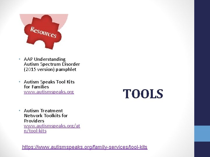 • AAP Understanding Autism Spectrum Disorder (2015 version) pamphlet • Autism Speaks Tool