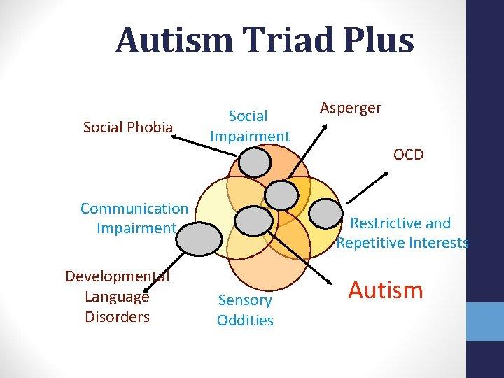 Autism Triad Plus Social Phobia Social Impairment Communication Impairment Developmental Language Disorders Asperger OCD