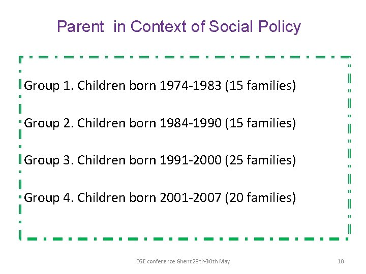 Parent in Context of Social Policy Group 1. Children born 1974 -1983 (15 families)