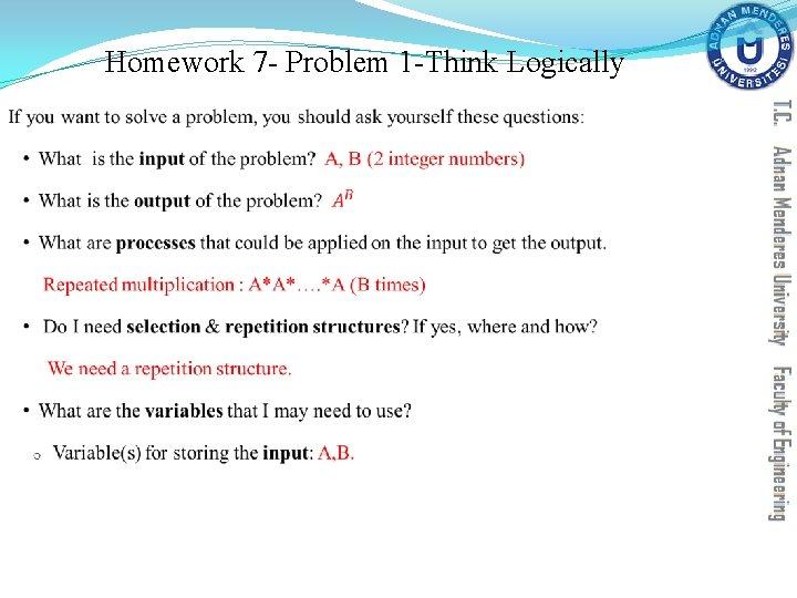 Homework 7 - Problem 1 -Think Logically §