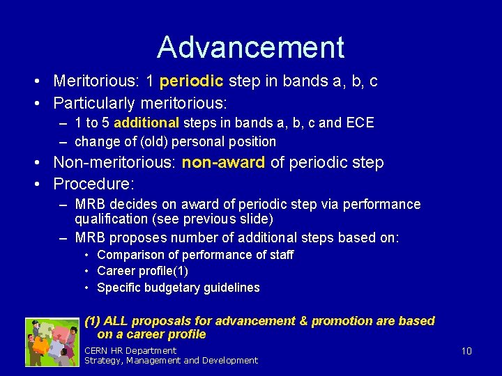 Advancement • Meritorious: 1 periodic step in bands a, b, c • Particularly meritorious: