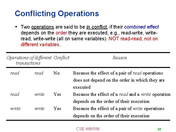 Conflicting Operations • Two operations are said to be in conflict, if their combined