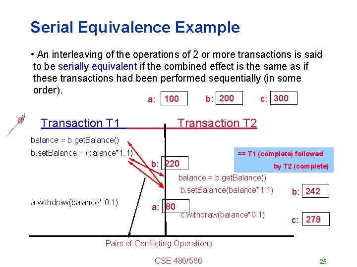 Serial Equivalence Example • An interleaving of the operations of 2 or more transactions