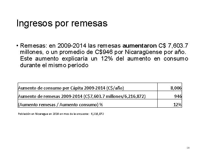 Ingresos por remesas • Remesas: en 2009 -2014 las remesas aumentaron C$ 7, 603.