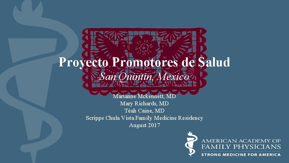 Proyecto Promotores de Salud San Quintin, Mexico Marianne Mckennett, MD Mary Richards, MD Téah