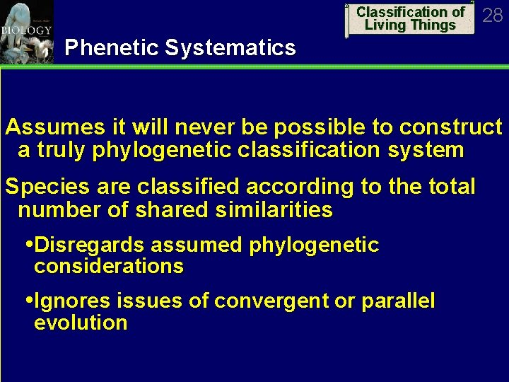 Classification of Living Things 28 Phenetic Systematics Assumes it will never be possible to