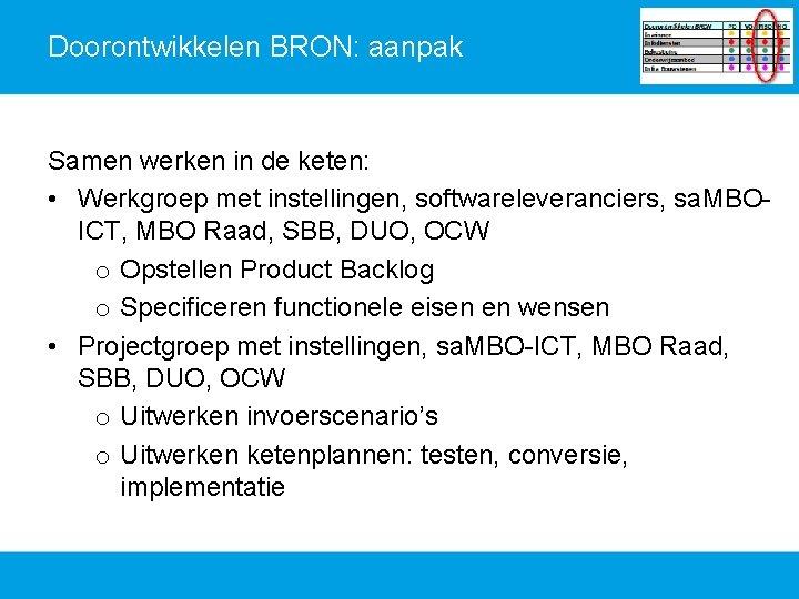 Doorontwikkelen BRON: aanpak Samen werken in de keten: • Werkgroep met instellingen, softwareleveranciers, sa.