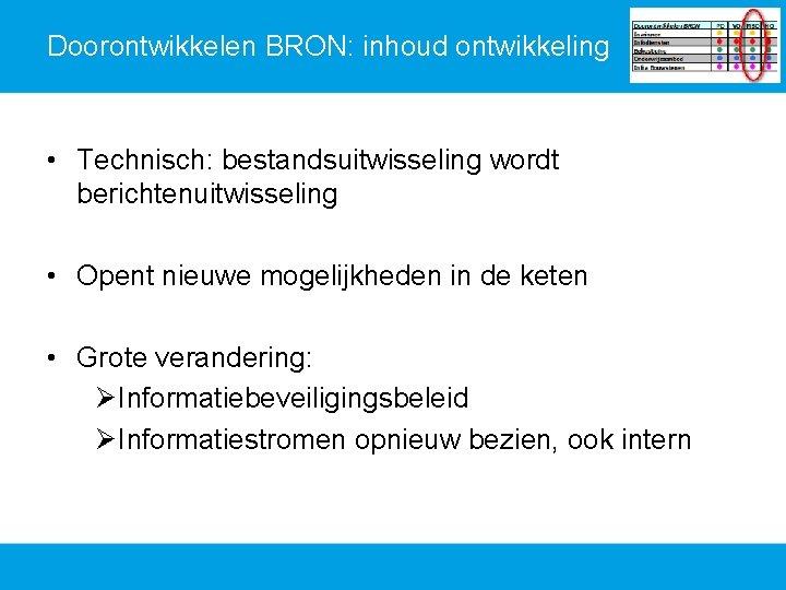 Doorontwikkelen BRON: inhoud ontwikkeling • Technisch: bestandsuitwisseling wordt berichtenuitwisseling • Opent nieuwe mogelijkheden in