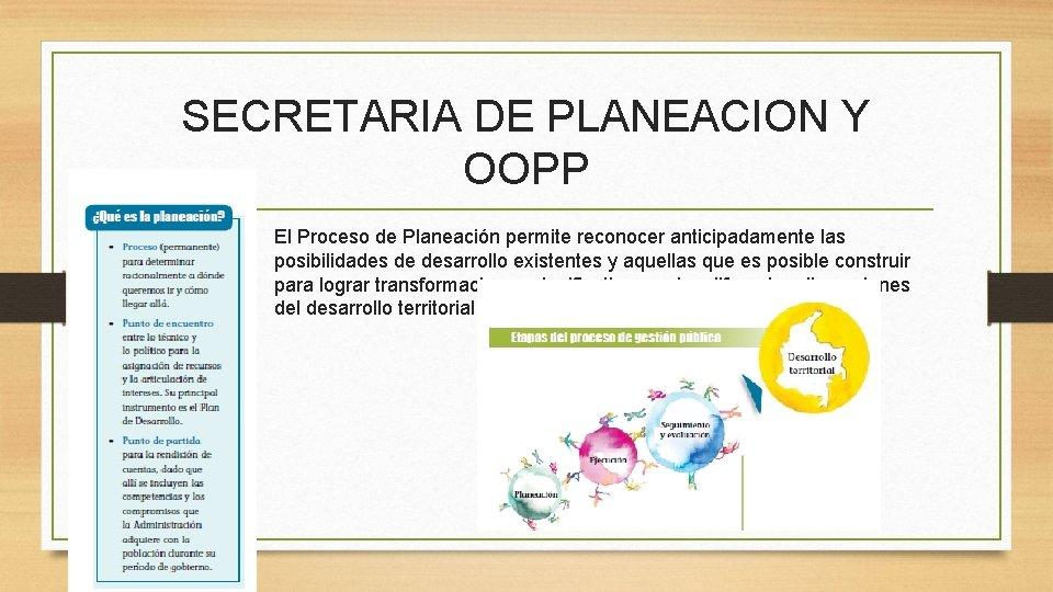 SECRETARIA DE PLANEACION Y OOPP • El Proceso de Planeación permite reconocer anticipadamente las