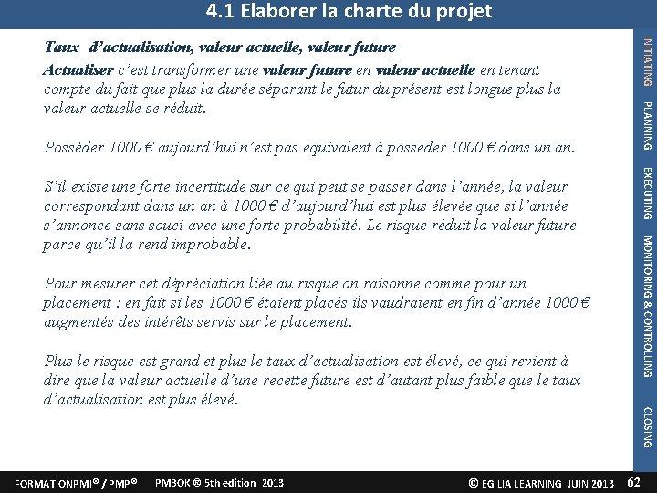 4. 1 Elaborer la charte du projet INITIATING PLANNING Taux d'actualisation, valeur actuelle, valeur