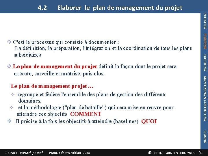 4. 2 Elaborer le plan de management du projet INITIATING PLANNING projet EXECUTING C'est