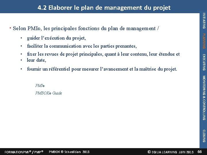 4. 2 Elaborer le plan de management du projet INITIATING Selon PMI®, les principales