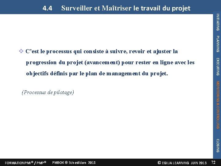 4. 4 Surveiller et Maîtriser le travail du projet INITIATING PLANNING C'est le processus
