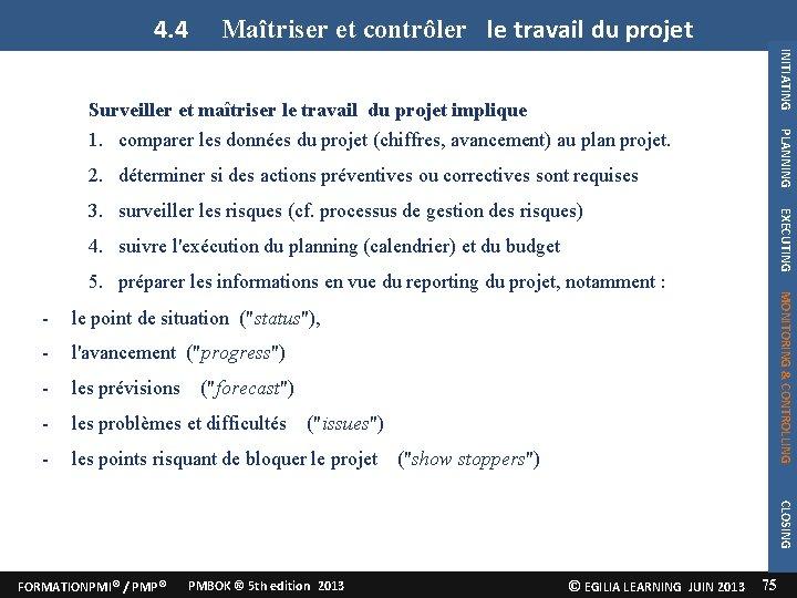 4. 4 Maîtriser et contrôler le travail du projet INITIATING PLANNING Surveiller et maîtriser