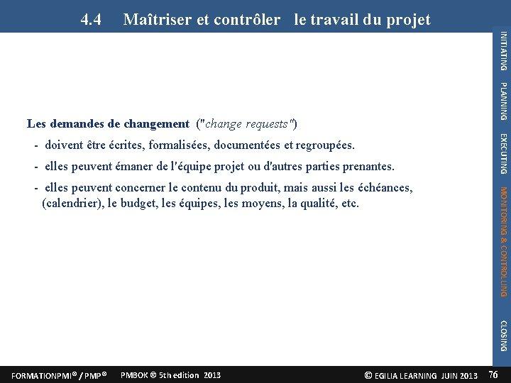 le Maîtriser et contrôlerle travail leletravail 4. 4 Maîtriser et contrôler dudu projet travail