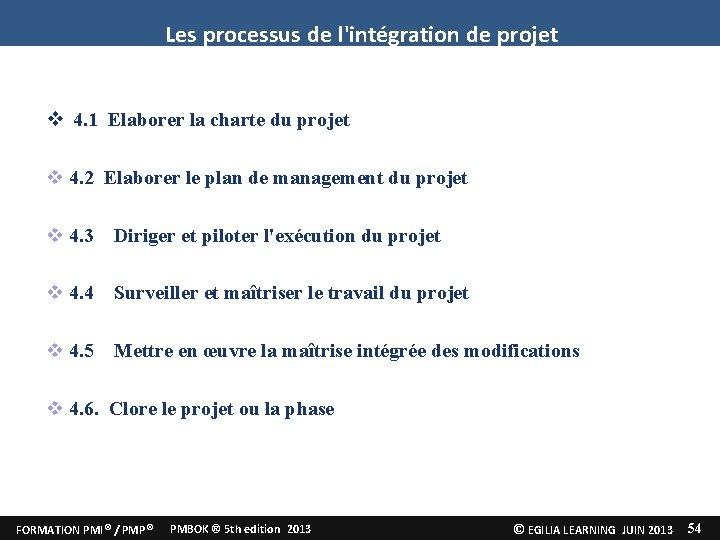 Les processus de l'intégration de projet 4. 1 Elaborer la charte du projet 4.