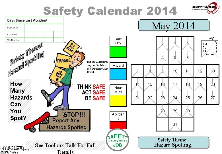 Safety Calendar 2014 May 2014 Key: Safe Day Report all Hazards on your Problem
