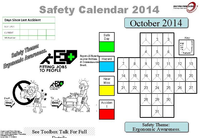 Safety Calendar 2014 October 2014 Safe Day 1 Report all Hazards on your Problem