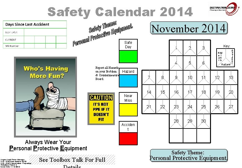 Safety Calendar 2014 November 2014 Safe Day 1 Report all Hazards on your Problem