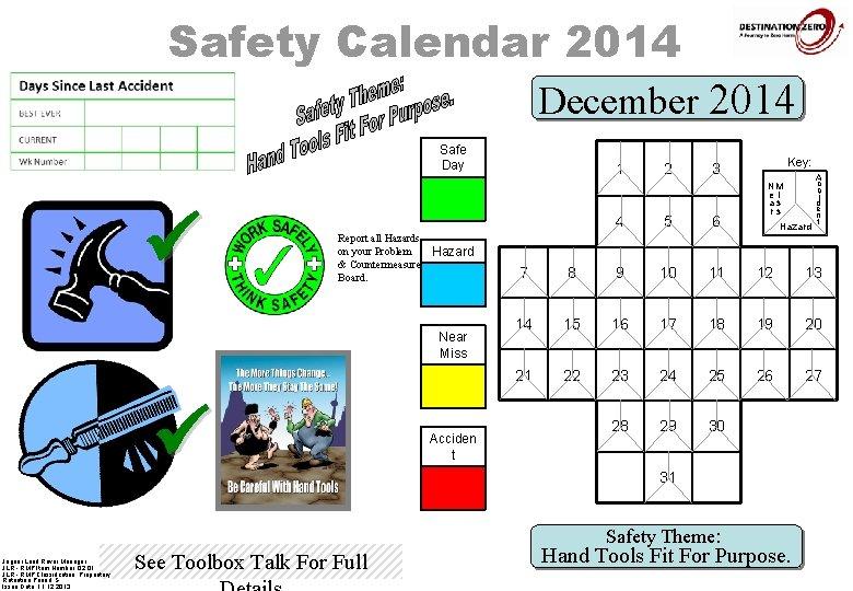Safety Calendar 2014 December 2014 Safe Day ü 1 Report all Hazards on your