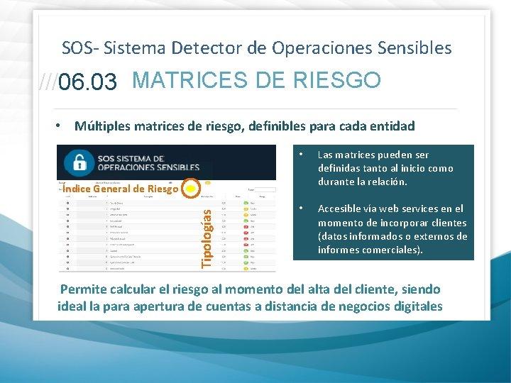 SOS- Sistema Detector de Operaciones Sensibles ///06. 03 MATRICES DE RIESGO • Múltiples matrices