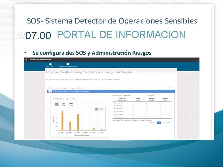 SOS- Sistema Detector de Operaciones Sensibles ///07. 00 PORTAL DE INFORMACION • Se configura