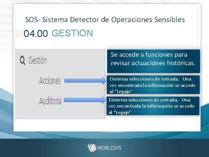 SOS- Sistema Detector de Operaciones Sensibles ///04. 00 GESTION Se accede a funciones para