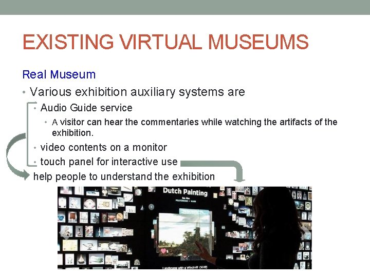 EXISTING VIRTUAL MUSEUMS Real Museum • Various exhibition auxiliary systems are • Audio Guide
