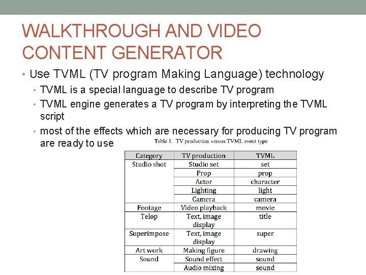 WALKTHROUGH AND VIDEO CONTENT GENERATOR • Use TVML (TV program Making Language) technology •