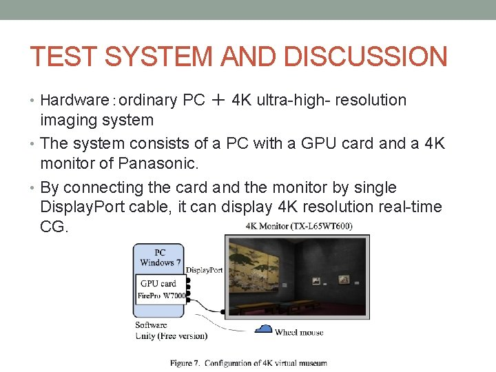 TEST SYSTEM AND DISCUSSION • Hardware:ordinary PC + 4 K ultra-high- resolution imaging system