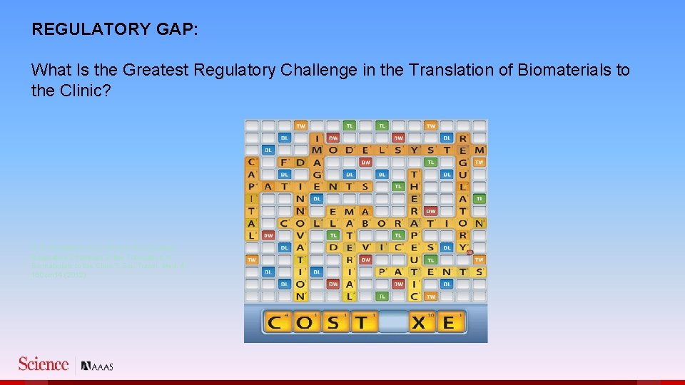 REGULATORY GAP: What Is the Greatest Regulatory Challenge in the Translation of Biomaterials to