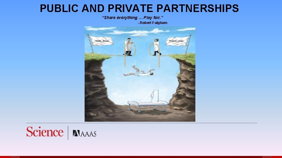 """PUBLIC AND PRIVATE PARTNERSHIPS """"Share everything … Play fair. """" --Robert Fulghum"""