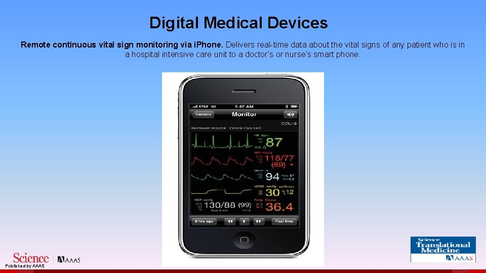 Digital Medical Devices Remote continuous vital sign monitoring via i. Phone. Delivers real-time data
