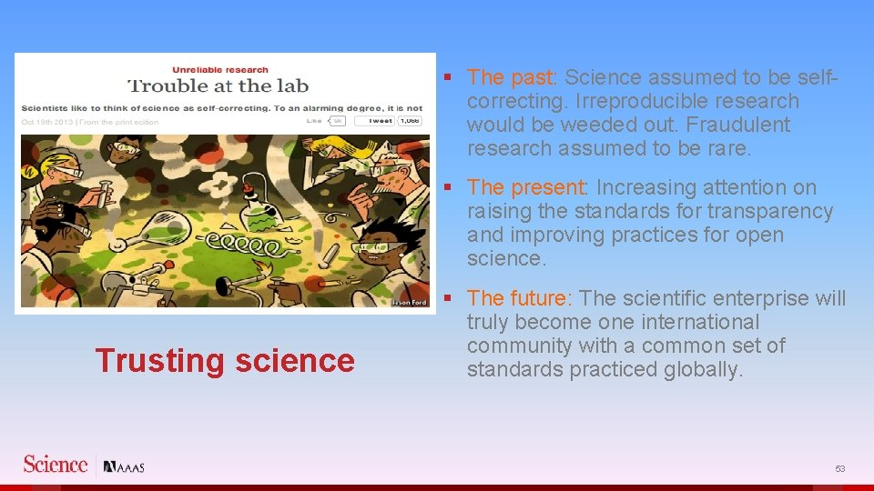 § The past: Science assumed to be selfcorrecting. Irreproducible research would be weeded out.