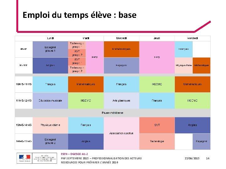 Emploi du temps élève : base ESEN – DGESCO A 1 -2 PNF SEPTEMBRE