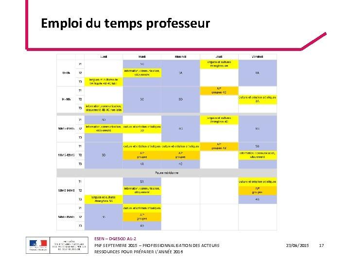 Emploi du temps professeur ESEN – DGESCO A 1 -2 PNF SEPTEMBRE 2015 –