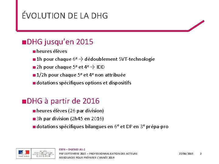 ÉVOLUTION DE LA DHG ■DHG jusqu'en 2015 ■ heures élèves ■ 1 h pour