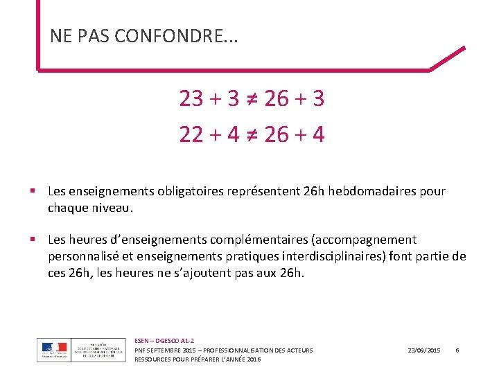 NE PAS CONFONDRE. . . 23 + 3 ≠ 26 + 3 22 +