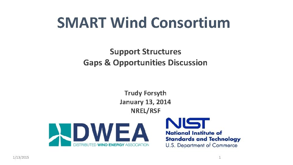 SMART Wind Consortium Support Structures Gaps & Opportunities Discussion Trudy Forsyth January 13, 2014