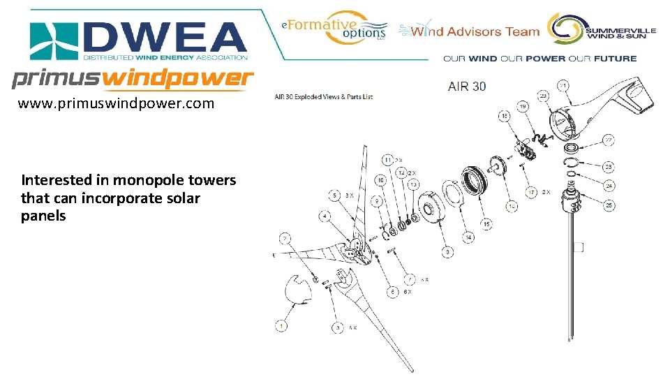 www. primuswindpower. com Interested in monopole towers that can incorporate solar panels